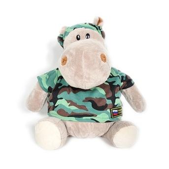 Мягкая игрушка бегемот Военный 70 см