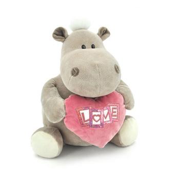 Мягкая игрушка бегемот Девочка с сердцем 70 см