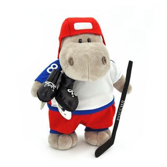 Мягкая игрушка бегемот Хоккеист 50 см