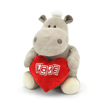 Мягкая игрушка бегемот мальчик с сердцем 27 см