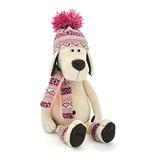 Мягкая игрушка пес Лапуська в шапочке 45 см